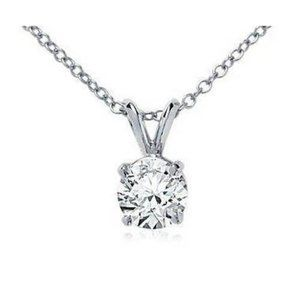 Jewelry - Round Diamond Lady Solitaire Necklace Pendant 1 Ct